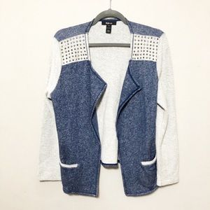 Style & Co Stud Swing Cardigan Jacket Blue Cream